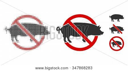 No Swine Halftone Vector Icon And Solid Version. Illustration Style Is Dotted Iconic No Swine Icon S