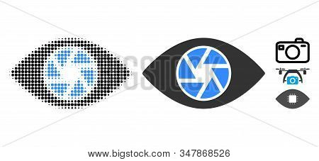 Shutter Eye Halftone Vector Icon And Solid Version. Illustration Style Is Dotted Iconic Shutter Eye