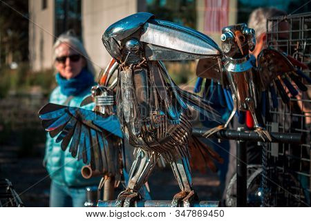 Artprize - Grand Rapids, Mi /usa - October 10th 2016: Art Piece Of A Crow Made Out Of Recycled Metal