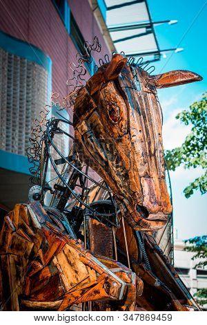 Artprize - Grand Rapids, Mi /usa - October 10th 2016: Close Up Shot Of A Pegasus Statue On Display D