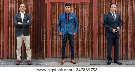 Full Body Shot Collage Of Three Persian Businessmen Outdoors
