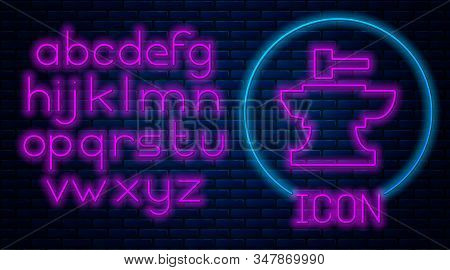 Glowing Neon Anvil For Blacksmithing And Hammer Icon Isolated On Brick Wall Background. Metal Forgin