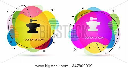 Color Anvil For Blacksmithing And Hammer Icon Isolated On White Background. Metal Forging. Forge Too