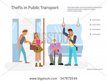 Landing Web Page Template With Diverse Passengers With Gadgets In Public Transport.  Male And Female