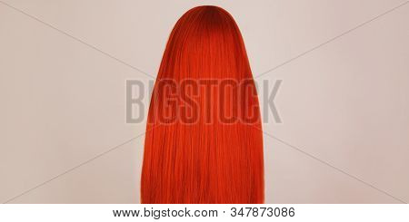 Redhead Girl With Brilliance Long Hair. Natural Beauty. Young Girl With Perfect Hair. Voluminous Red