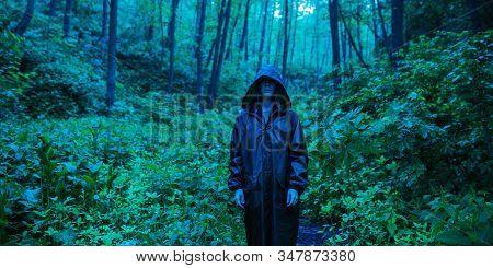 Zombie Apocalypse. Man In Rain Coat Stand Back On Background Of Wet Forest. Rain In Forest. Dark Rai