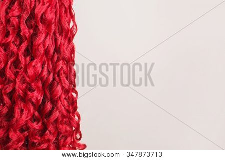 Redhead Girl With Brilliance Long Wavy Hair. Red Wig. Natural Beauty Copyspaca. Young Girl With Kink