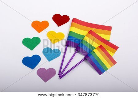 Lgbt Symbol. Lgbtq. Multi-colgbt Symbol. Lgbtq. Multi-colored Hearts Are The Colors Of The Rainbow.