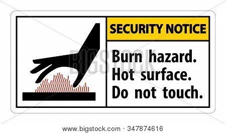 Security Notice Burn Hazard,hot Surface,do Not Touch Symbol Sign Isolate On White Background,vector