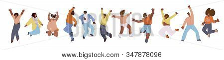 Vector Flat Collection Of African American Happy Men And Women, Jumping And Dancing With Cheer, Joy,