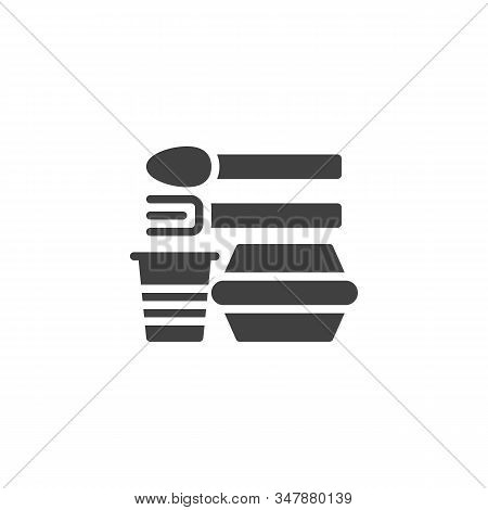 Disposable Plastic Tableware Vector Icon. Filled Flat Sign For Mobile Concept And Web Design. Dispos