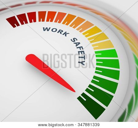 Work Safety Level Scale With Arrow. The Measuring Device Icon. Sign Tachometer, Speedometer, Indicat