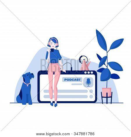Podcast Concept Illustration. Webinar, Online Training, Tutorial Podcast Concept. Young Female Liste