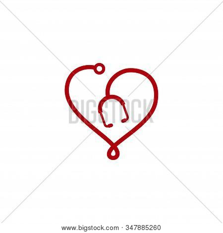 Stethoscope Vector Icon Logo Design Isolated On Heart Shape. Health Checkup Tool Vector Icon