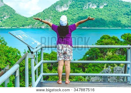 Back View Of Happiness Woman At The Famous Saltwater Emerald At Thale Nai On Koh Mae Ko Island Viewp