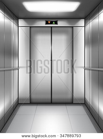 Empty Elevator Cabin With Closed Doors And Digital Display With Arrows Up And Down. Vector Realistic