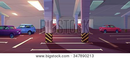 Underground Car Parking. Basement Garage With Lots For Automobiles, Columns, Road Marking And Guidin