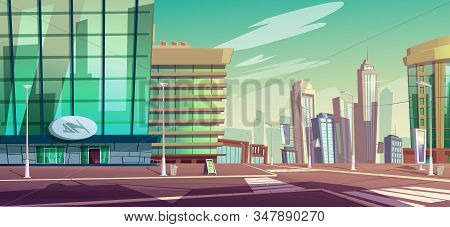 City Crossroad With Pedestrian Crosswalk And Street Lamps. Vector Cartoon Town Landscape With Buildi