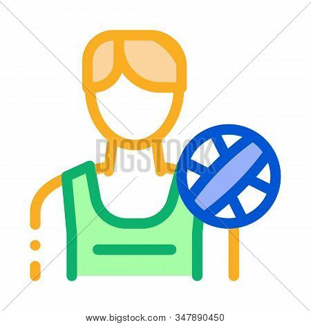 Male Volleyball Player Icon Vector. Outline Male Volleyball Player Sign. Isolated Contour Symbol Ill