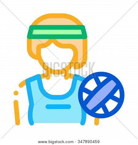 Woman Volleyball Player Icon Vector. Outline Woman Volleyball Player Sign. Isolated Contour Symbol I