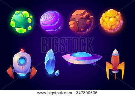 Planets, Rockets And Alien Ufo Set Isolated On Blue Background. Fantasy Computer Game Graphic Design
