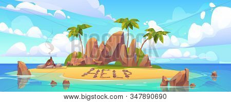 Lost Island In Ocean With Alone Castaway Person Asking For Help. Vector Cartoon Sea Landscape Witn T