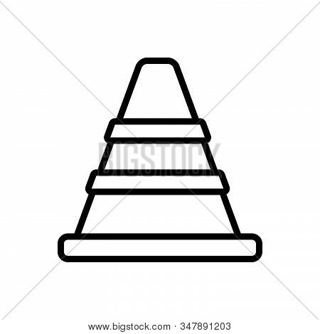 Black Line Icon For Traffic-cone Safety Barrier Boundary Construction Caution Repair Traffic Securit