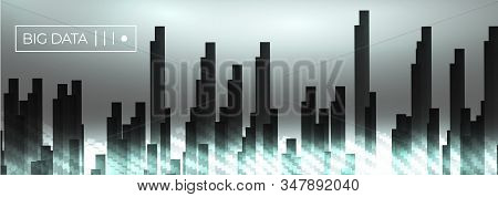 Big Data Dark Block Glowing Wave Vector Background. City Buildings In Foggy White Data Flow Particle