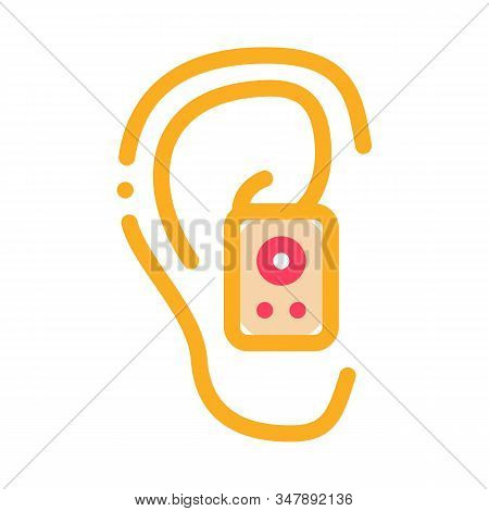 Earphone In Ear Icon Vector. Outline Earphone In Ear Sign. Isolated Contour Symbol Illustration