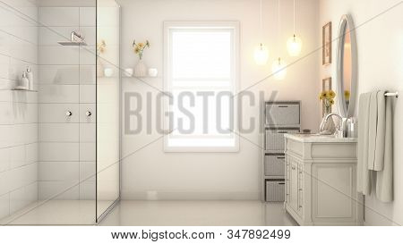 An Interior Of A Modern Bathroom With Pale Cream Walls A Shower Vanity And Mirror And Backlit Window
