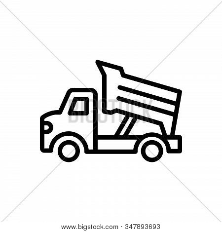 Black Line Icon For Dump-truck Construction Earth Contractor Earthmover Truck Dump Transportation