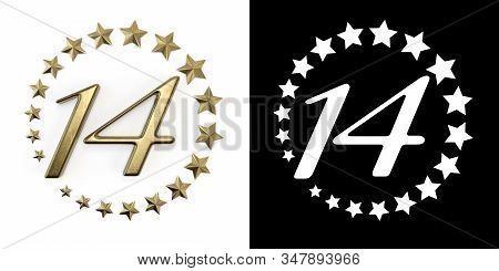 Number 14 (number Fourteen) Anniversary Celebration Design With A Circle Of Golden Stars On A White