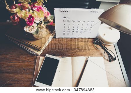 Diary And Book On School Table For Student,study For Exam.wooden Desk With Desktop Laptop,notebook,b