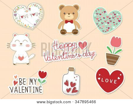 Sweet 9 Piece Doodle Valentine Flat Icon And Text Happy Valentines Day. Cute Valentines Vector Art F