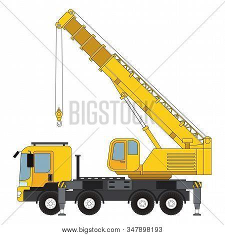 Telescopic Cranes Components,  Telescopic Cranes Graphic. Telescopic Cranes  Clipart On White Backgr