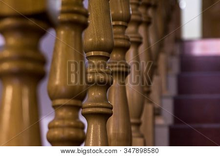 Close-up Of Wooden Baluster Stairs Leading Upstairs Building