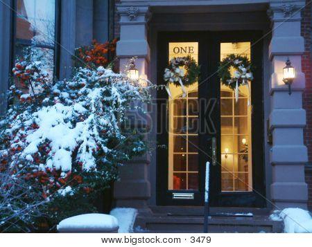 Boston Door In Winter