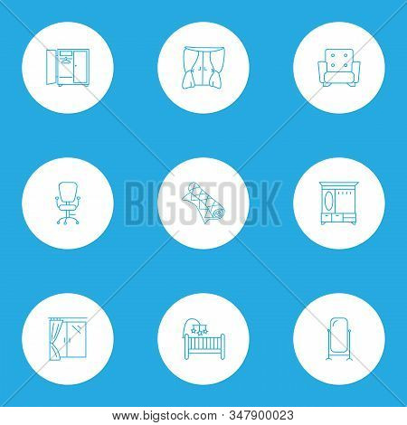 Furniture Icons Line Style Set With Window, Hall Cupboard, Floor Mirror And Other Ergonomic Armchair