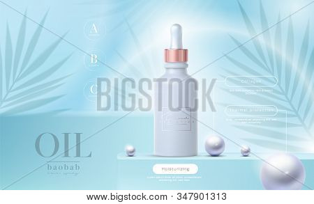 Vector 3d Elegant Cosmetic Products Background Premium Dropper For Skin Care Products. Luxury Fashio