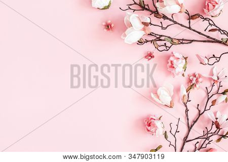 Flowers Composition. Frame Made Of Pink Flowers On Pastel Pink Background. Valentines Day, Mothers D