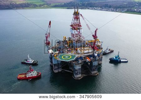Ukc, North Sea - December 18, 2019: Drilling Platform In The Port. Towing Of The Oil Platform.