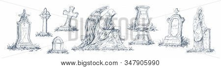 Set Of Monochrome Tombstones Made From Stone Vector Graphic Illustration. Collection Of Sketches Old