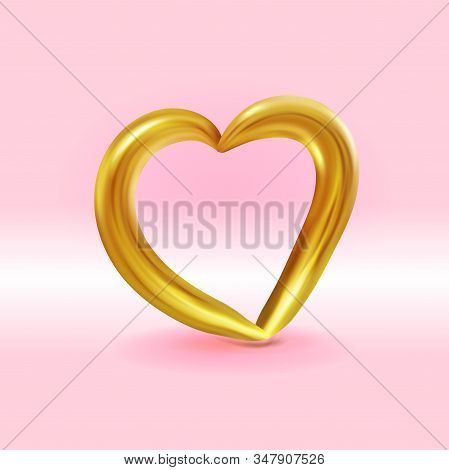 Realistic Gold Metallic Heart . Vector Valentines Heart On Pink Background. Vector Illustration Eps1
