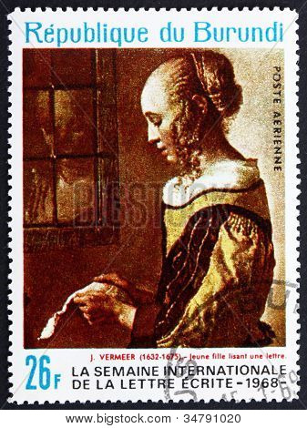 Postage stamp Burundi 1968 Young Woman Reading Letter by Jan Ver