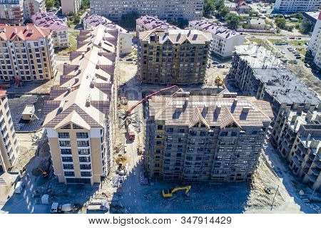 Construction Of A Residential Neighborhood. Several Buildings Of The Residential Complex Are Already