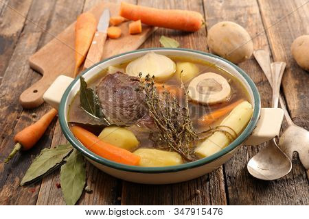 beef stew with vegetable and broth- pot au feu