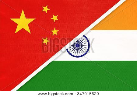 People's Republic Of China Or Prc Vs India National Flag From Textile. Relationship Between Two Asia