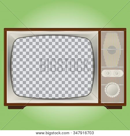 An Old Vintage Tv With A Wooden Case And A Grey Plastic Frame. Transparent Screen For Inserting An I