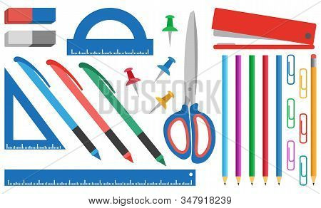 Set Of Stationery Items. Eraser, Scissors, Ruler, Paper Clips, Drawing Pins,pencils, Pens. School Su