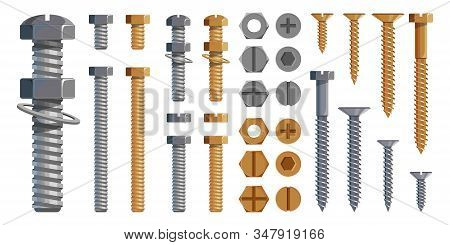 Vector Set Of Bolts, Nuts. Metal Screws, Steel Bolts, Nuts, Nails And Rivets, Self-tapping. Construc
